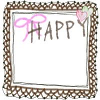 フリー素材:アイコン,フレーム:ガーリーな茶色のレースの飾り枠とリボンとHAPPYの手書き文字とハートのイラスト