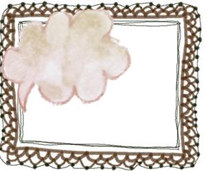 フリー素材:フレーム:大人かわいい茶色の水彩のふきだしと華やかなレースの飾り枠;300×250pix