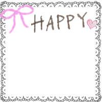 フリー素材;秋のアイコン(twitter,mixi,ブログ):ガーリーなグレーのレースの飾り枠とピンクのリボンとHAPPYの手書き文字と小さなハートの無料イラスト;200×200pix