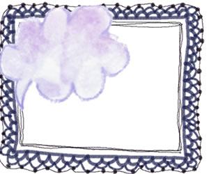 フリー素材:フレーム;ガーリーな水彩のパステルブルーの吹出しと紺色のレースの飾り枠のイラスト