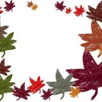 秋のフリー素材:もみじのフレーム;カラフルだけどちょっとかすれてレトロな無料イラストの囲み枠