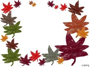 フリー素材:秋のフレーム;ちょっとかすれてナチュラルなカラフルなもみじの無料イラストの囲み枠