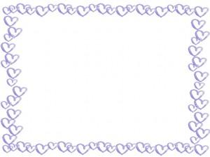 フリー素材:フレーム;ガーリーなパステルブルーの水彩のハートのイラストいっぱいの囲み枠;640×480pix