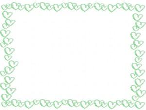 フリー素材:フレーム;華やかな水彩のパステルグリーンのハートのイラストいっぱいの囲み枠;640×480pix