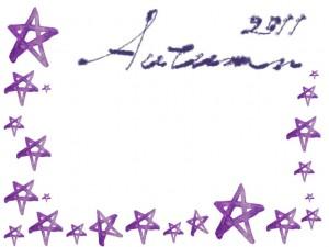 フリー素材:アイコン(twitter,mixi);大人可愛いくすんだ紫の水彩の星いっぱいのイラストのフレーム;200×200pix