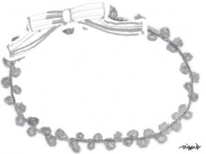 フリー素材:大人かわいいモノトーングレーのリボンとレースの縁飾りみたいな飾り枠;640×480pix