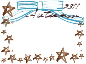 フリー素材:フレーム;大人かわいいブラウンブラックの水彩の星とパステルブルーのリボンと2011Autumnの手書き文字の飾り枠;640×480pix