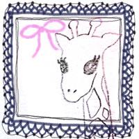 フリー素材:アイコン(twitter,mixi,ブログ);ガーリーな紺色のレースの飾り枠とモノクロのキリンの鉛筆イラスト;200×200pix
