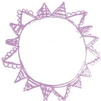 フリー素材:アイコン(twitter,mixi,ブログ);ガーリーなくすんだ紫の旗いっぱいの太陽のメダルみたいな鉛筆イラスト;200×200pix