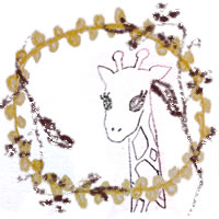 フリー素材:アイコン(twitter,mixi,ブログ);北欧風の木の枝と芥子色のポンポンレースと大人可愛いリンの鉛筆イラスト;200×200pix
