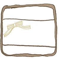 フリー素材:アイコン(twitter,mixi,ブログ);大人可愛いブラウンのラフなラインのラベルシール風の鉛筆画と小さなリボンと小さなリボン;200×200pix