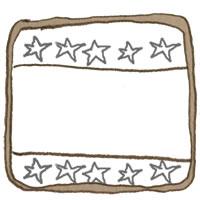 フリー素材:アイコン(twitter,mixi,ブログ);大人可愛いブラウンのラフなラインと小さな星いっぱいのラベルシール風の鉛筆画;200×200pix