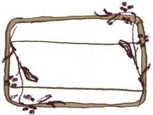 フリー素材:ガーリーなブラウンの北欧風のシンプルな木の枝とラベルシールみたいな鉛筆の手描きイラストの囲み枠;640×480pix