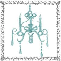 フリー素材:アイコン(twitter,mixi,ブログ);グレーのレース飾りとシンプルで大人可愛いブルーのシャンデリア;200×200pix