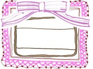 フリー素材:ガーリーなピンクのリボンとレースの飾り枠とラベルシールみたいなイラスト;640×480pix