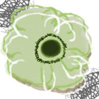フリー素材:アイコン(twitter,mixi,ブログ),壁紙;北欧風のパステルグリーンのシンプルな花(アネモネ)とグレーのレース;200×200pix