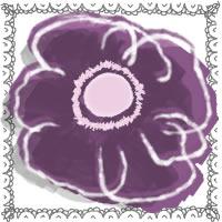 フリー素材:アイコン(twitter,mixi,ブログ),壁紙;北欧風の紫のシンプルな花(アネモネ)とグレーのレースのフレーム;200×200pix