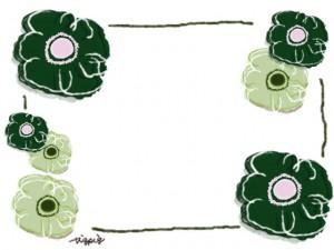 シンプルな北欧風のガーリーな緑の花(アネモネ)のフレームのフリー素材