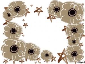 フリー素材:フレーム;ガーリーな北欧風の花(ベージュのアネモネ)と星;640×480pix