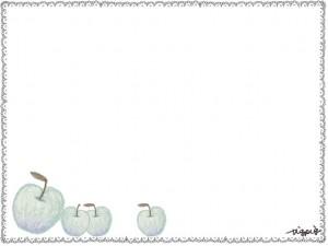 フリー素材:フレーム;ヨーロッパ風のシンプルな青リンゴとレースの鉛筆イラストの囲み枠;640×480pix