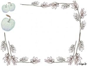 フリー素材:フレーム;北欧風の木の枝と葉とモノトーンのシンプルな青リンゴの囲み枠;640×480pix