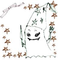 フリー素材:ハロウィンのアイコン(twitter,mixi);モノクロのガーリーなおばけと茶色の水彩の星とリボン;200×200pix