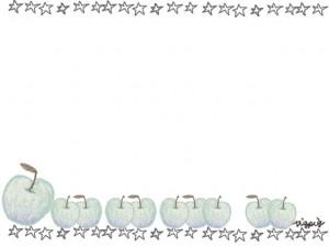 フリー素材:フレーム;北欧風のシンプルな青リンゴと手描きの星のライン;640×480pix