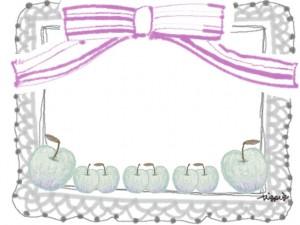 フリー素材:フレーム;北欧風のシンプルな青リンゴとグレーのレースとピンクのりぼん;640×480pix