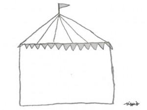 フリー素材:フレーム;モノクロのサーカスのテントのシンプルなイラスト;640×480pix