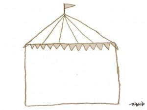 フリー素材:フレーム;ガーリーな茶色のサーカスのテントのシンプルな飾り枠;640×480pix