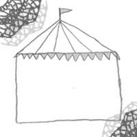 フリー素材:アイコン(twitter,mixi,ブログ);モノトーンのガーリーなサーカスのテントとレースの飾り枠;200×200pix