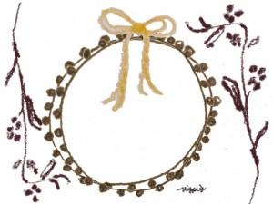 フリー素材:フレーム;北欧風の茶色の枝とシンプルな芥子色のりぼんとポンポンレースの飾り枠;640×480pix