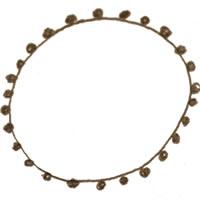 フリー素材:アイコン(twitter,mixi,ブログ);北欧風のブラウンブラックのポンポン付きレースの飾り枠;200×200pix