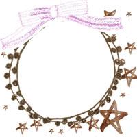 フリー素材:アイコン(twitter,mixi,ブログ);ブラウンブラックのポンポン付きレースの飾り枠と星とリボン;200×200pix