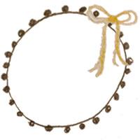 フリー素材:アイコン(twitter,mixi,ブログ);ブラウンブラックのポンポン付きレースの飾り枠と芥子色のリボン;200×200pix