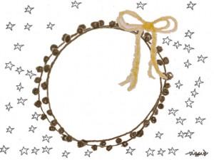 フリー素材:フレーム;モノクロの星の背景と芥子色のリボンと茶色のレースの飾り枠;640×480pix