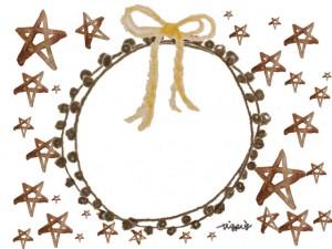 フリー素材:フレーム;茶色の水彩の星の背景と芥子色のリボンと茶色のレースの飾り枠;640×480pix