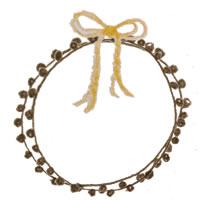 フリー素材:アイコン(twitter,mixi,ブログ);ガーリーな茶色のポンポン付きレースの飾り枠と芥子色のリボン;200×200pix