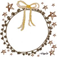 フリー素材:アイコン(twitter,mixi,ブログ);ガーリーな茶色の水彩の星とレースの飾り枠と芥子色のリボン;200×200pix