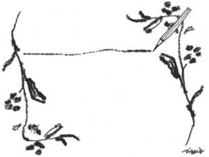 フリー素材:フレーム(バナー広告,メニュー);モノトーンの鉛筆とラインと北欧風の木の枝の飾り枠;640×480pix
