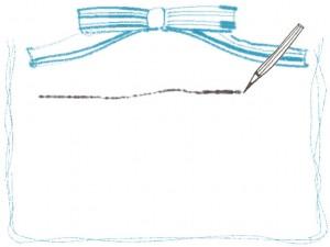 フリー素材:フレーム(バナー広告,メニュー);モノクロの鉛筆とラインとパステルブルーのりぼんの飾り枠;640×480pix