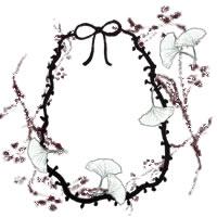 フリー素材:アイコン(twitter,mixi,ブログ);北欧風の木の枝と葉(イチョウ)とモノクロのリボンの飾り枠;200×200pix