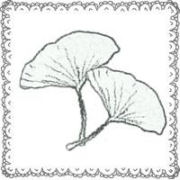 フリー素材:アイコン(twitter,mixi,ブログ);北欧風のモノクロの木の葉(イチョウ)とガーリーなレースの飾り枠;200×200pix