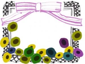フリー素材:フレーム;北欧風のシンプルな花とピンクのリボンとモノクロのレースの飾り枠;640×480pix