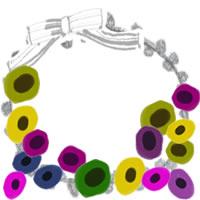 フリー素材:アイコン(twitter,mixi,ブログ);北欧風のシンプルな花とモノトーンのレースとリボンの飾り枠;200×200pix