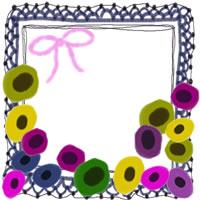 フリー素材:アイコン(twitter,mixi,ブログ);北欧風のカラフルな花と紺色のレースの飾り枠;200×200pix