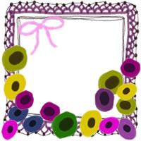 フリー素材:アイコン(twitter,mixi,ブログ);北欧風のカラフルな花とガーリーなりぼんと赤紫のレースの飾り枠;200×200pix