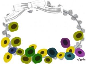 フリー素材:フレーム;モノトーンのガーリーなリボンとレースと北欧風の花の飾り枠;640×480pix