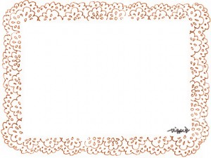 フリー素材:フレーム;大人可愛いオレンジ色の北欧風レースの飾り枠;640×480pix