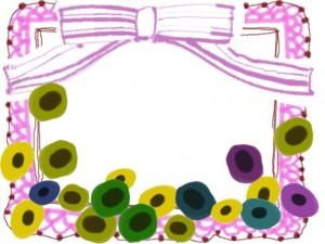 フリー素材:フレーム;北欧風の花とピンクのリボンとレースの飾り枠;640×480pix